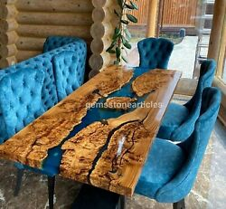 Handmade Epoxy Resin Blue River Dining Table Made Solid Acacia Wooden Slab Decor