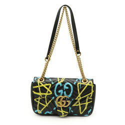 Guccigg Marmont Ghost Chain Shoulder Bag Quilted Leather Black Black Yellow