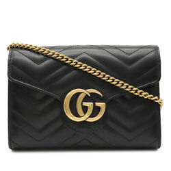 Guccigg Marmont Chain Wallet Shoulder Bag Chain Bag 2way Clutch Quilted Leat