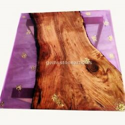 Handmade Epoxy Dining Table Top Pink Resin River Live Edge Art Antique Furniture