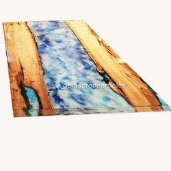 Acacia Handmade Epoxy Blue River Dining Center Coffee Table Housewarming Gifts