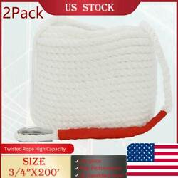 3/4 X 200and039ft White 2pcs Twisted Boat Marine Anchor Line Dock Mooring Yacht Rope