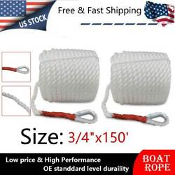 Us Stock 2pcs 3/4x150and039 Twisted Anchor Rope Thimble Boat Yacht Marine Dock Line