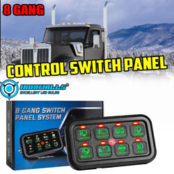 8 Gang On-off Control Switch Panel Kit Fit For Kenworth Heavy Duty Truck Green