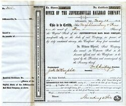 Jeffersonville Indiana Railroad Company 10 Shares Stock 1854 Wm. Armstrong Pres