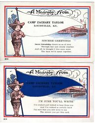 2 Camp Zachary Taylor Message Post Cards World War 1 Louisville Ky Look@@