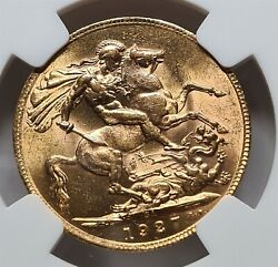South Africa Britain Gold 1 Sovereign 1927 Ngc Ms 64 Unc George V. Dragon