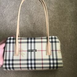 Burberry Small Vintage Authentic Handbag Tote Beige and Tan with Plaid Canvas $375.00