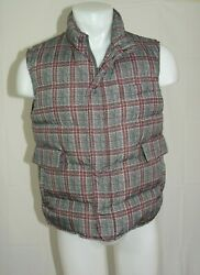 Isaia Oand039 Pallone Quilted Polyester Gray Plaid Down Puffer Vest 40r Nwt 2895
