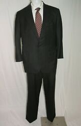 Oxxford Clothes Heritage Custom Gray Striped Flannel Weight Two Button Suit 44r
