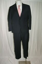 Samuelsohn 1923 Super 150 Ice Wool Silk Recent Solid Blue Two Button Suit 42s