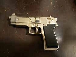 Vintage Nickel Plated Toy Gun Cast Metal Looks Like A Real Gun From A Distance