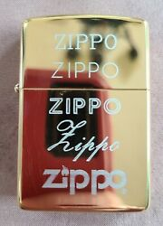 1993 Zippo Lighter Salesman Sample Rare Gold Plate With Script And Type 4 Surfaces