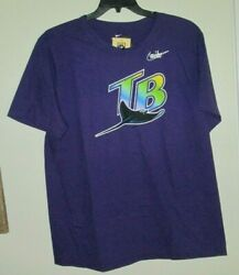 Nwt Nike Cooperstown Collection Tampa Bay Devil Rays Purple Cotton T-shirt Xxl