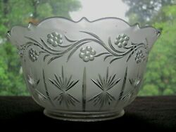 Grapevine And Star Antique Gas Light Shade Frosted Pressed Glass 4 Collar Ex