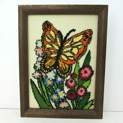 Vintage Needle Work Butterfly Flowers Hand Stitched Framed Picture Orange Green