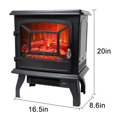 Warm 1400w Portable Electric Fireplace Heater Log Flame Stove Free Standing