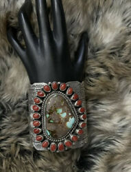 Native American Sterling Silver Royston Turquoise Coral Cuff Bracelet