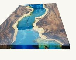 Custom Rich Walnut Wood And Blue Resin River Epoxy Dining Or Meeting Table Decor