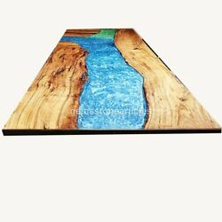 Epoxy Table, Blue Resin Table, Acacia Wood Epoxy Resin Coffee Dining Table Décor