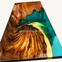 Mappa Burl Green Resin Wood Dining Custom Conference Table Top Housewarming Gift