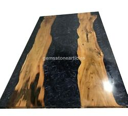 River Dinning Table Top Live Edge Wood Style Natural Epoxy Art Outdoor Dandeacutecor