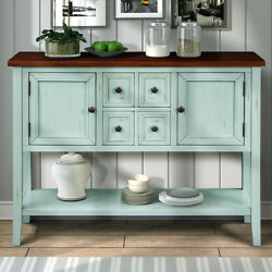 Retro Blue Cambridge Series Buffet Sideboard Console Table With Bottom Shelf
