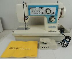 Vintage Dressmaker S-2402 Sewing Machine With Hard Carry Case