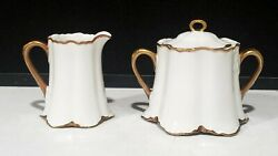 Hutschenreuther Selb Lhs Blenheim White And Gold Creamer And Sugar Bowl Set