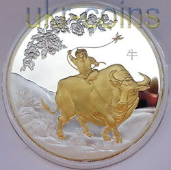 2009 Cook Islands 25 Lunar Year Of The Ox 5oz Silver Gilded Coin Chinese Zodiac