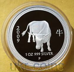 2009 Australia 1 Lunar I Series Year Of The Ox 1oz Silver Proof Coin Perth Mint
