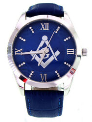 Menand039s Masonic Watch W Elegant Blue Leather Band And Roman Dial W Silver Detailing