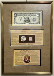2001 Silver Buffalo Commemorative Dollar And Currency Set - Professionally Framed