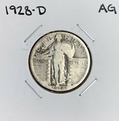 1928-d Standing Liberty Quarter - Ag - About Good - 90 Silver