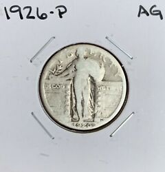 1926-p Standing Liberty Quarter - Ag - About Good - 90 Silver