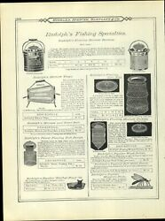 1895 Paper Ad Vintage Antique Rudolph Fishing Products Glass Minnow Trap Bucket