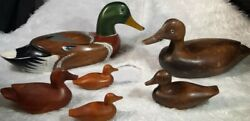Vintage Wood Duck Decoys 6 Hand Carved Painted Glass Eye Collectible