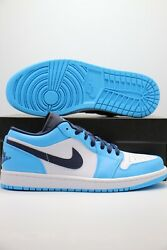 Nike Air Jordan 1 Low Unc White Powder Blue Obsidian 553558-144 Menand039s And Gs Sizes