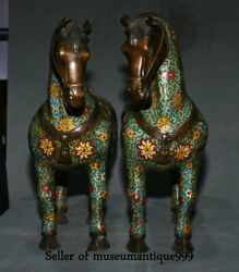 19.6 Ancient Old Cloisonne Bronze Dynasty Tang War Horse Animal Sculpture Pair