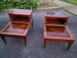 Weiman End Tables And Oval Coffee Table- Leather Top