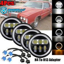 4x 5.75 Inch Led Projector Headlight Angle Eyes Drl Ip67 Sealed Beam Ring Lamp