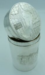 Solid Silver Cigar Box - Map Of Middle East Arabic Oman Camels Palm Trees Desert