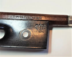 Fine Old H.r. Pfretzschner Violin Bow With 'coat Of Arms' Stamp On Frog. C 1930