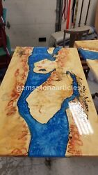 Beautiful Epoxy Blue Resin Table Top Wooden Live Edge Art Home And Office Dandeacutecor