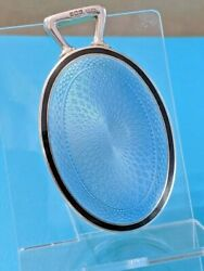 1922 Art Deco Stylish Black And Blue Guilloche Enamel And Silver Hand Mirror
