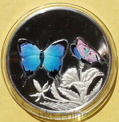 1999 Turks And Caicos Butterfly 1 Oz Silver Colored Coin Wildlife Wwf Fauna