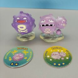 Authentic Koffing And Weezing Pokemon Cgtsj Pvc Figures By Tomy With Pogs