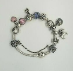 Sterling Silver Pandora Charm Bracelet And 11 Charms