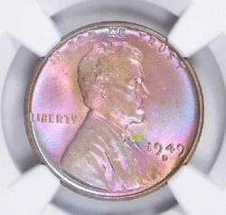 1949-d Ms66 Star Rb Rainbow Monster Ngc + Qa Lincoln Cent Post War Color Toned