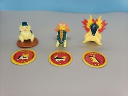 Pokemon Figures Tomy Cgtsj Cyndaquil Quilava Typhlosion With Pogs